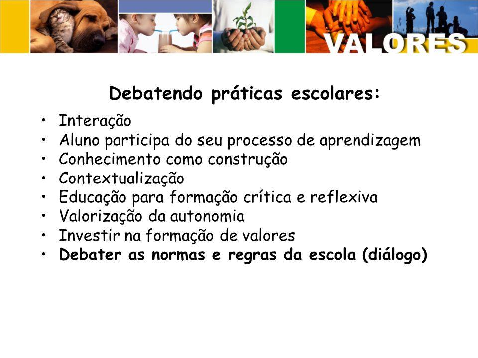 Debatendo práticas escolares: Interação Aluno participa do seu processo de aprendizagem Conhecimento como construção Contextualização Educação para formação crítica e reflexiva Valorização da autonomia Investir na formação de valores Debater as normas e regras da escola (diálogo)
