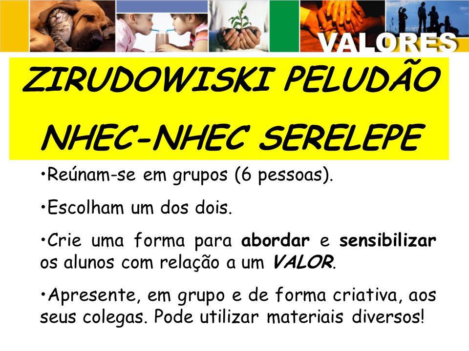 ZIRUDOWISKI PELUDÃO NHEC-NHEC SERELEPE Reúnam-se em grupos (6 pessoas).