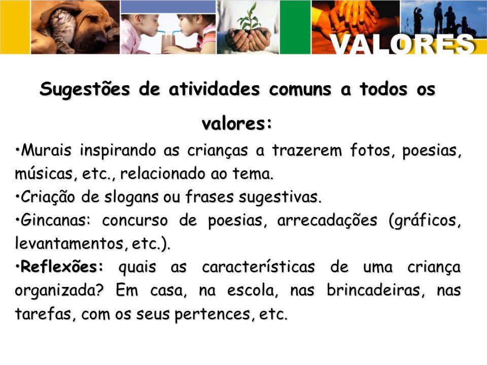 Sugestões de atividades comuns a todos os valores: Murais inspirando as crianças a trazerem fotos, poesias, músicas, etc., relacionado ao tema.Murais inspirando as crianças a trazerem fotos, poesias, músicas, etc., relacionado ao tema.