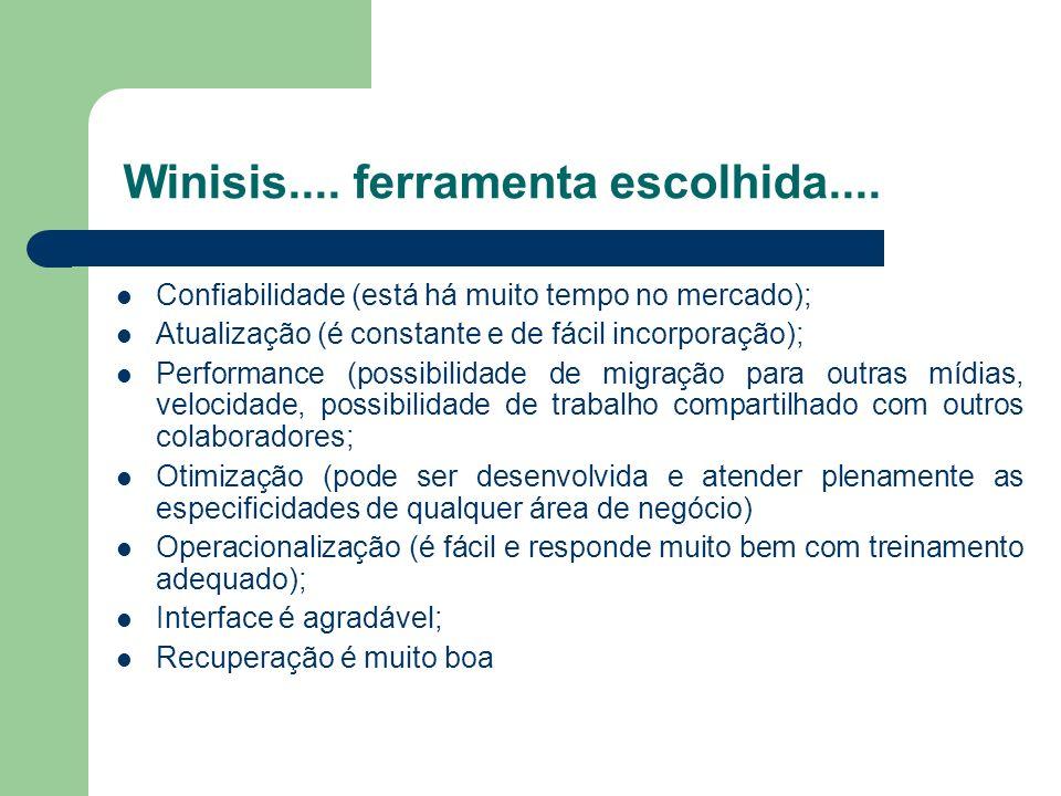 Winisis.... ferramenta escolhida.... Confiabilidade (está há muito tempo no mercado); Atualização (é constante e de fácil incorporação); Performance (