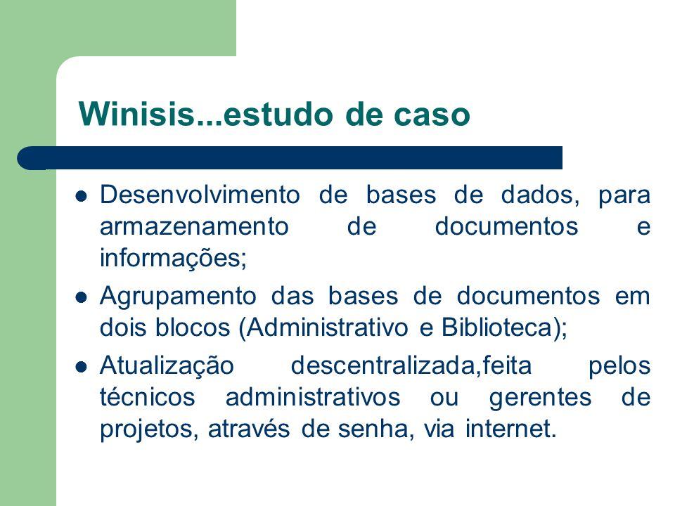 Winisis...estudo de caso Desenvolvimento de bases de dados, para armazenamento de documentos e informações; Agrupamento das bases de documentos em doi