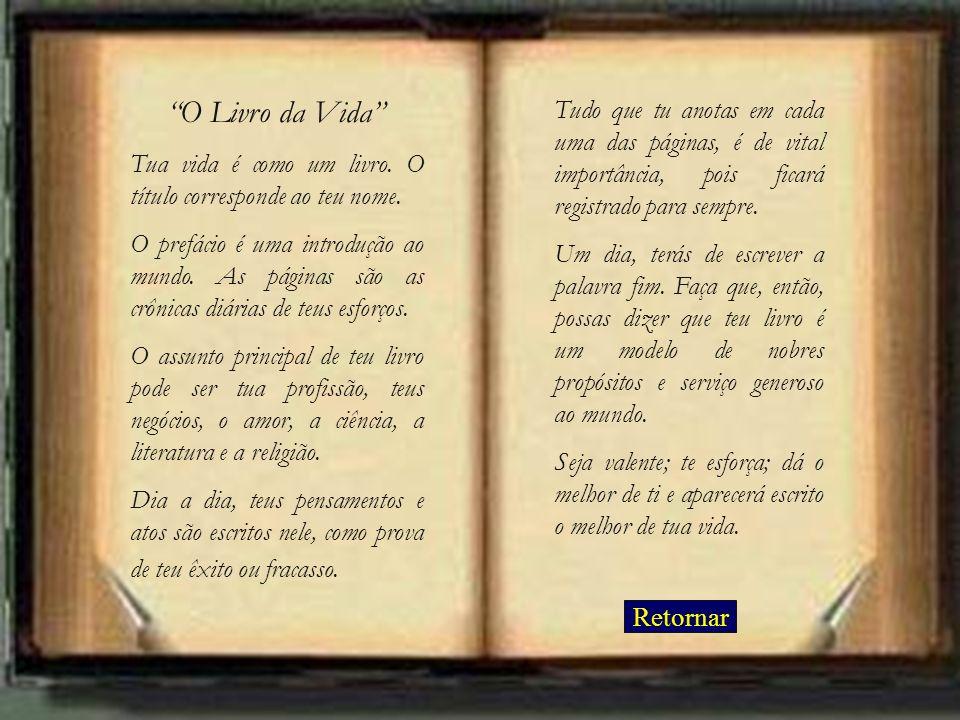O Livro da Vida Tua vida é como um livro. O título corresponde ao teu nome. O prefácio é uma introdução ao mundo. As páginas são as crônicas diárias d