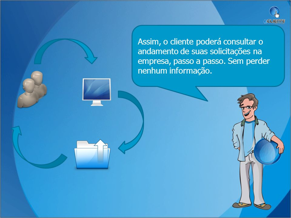 O cliente faz uma solicitação em sua empresa cliente funcionário O funcionário registra a solicitação.