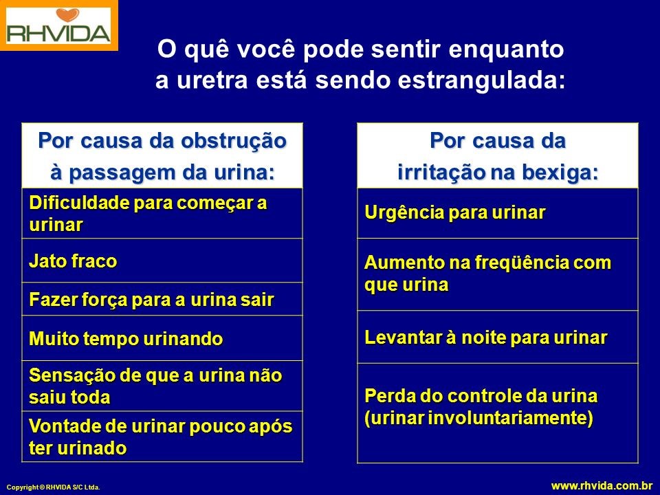 www.rhvida.com.br Copyright © RHVIDA S/C Ltda. O quê você pode sentir enquanto a uretra está sendo estrangulada: Por causa da obstrução à passagem da