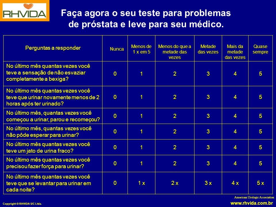 www.rhvida.com.br Copyright © RHVIDA S/C Ltda. Perguntas a responder Nunca Nunca Menos de 1 x em 5 Menos do que a metade das vezes Metade das vezes Ma