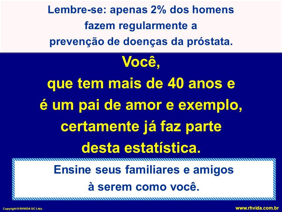 www.rhvida.com.br Copyright © RHVIDA S/C Ltda. Lembre-se: apenas 2% dos homens fazem regularmente a prevenção de doenças da próstata. Ensine seus fami