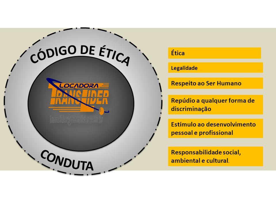 Ética Legalidade Respeito ao Ser Humano Repúdio a qualquer forma de discriminação Estímulo ao desenvolvimento pessoal e profissional Responsabilidade social, ambiental e cultural.