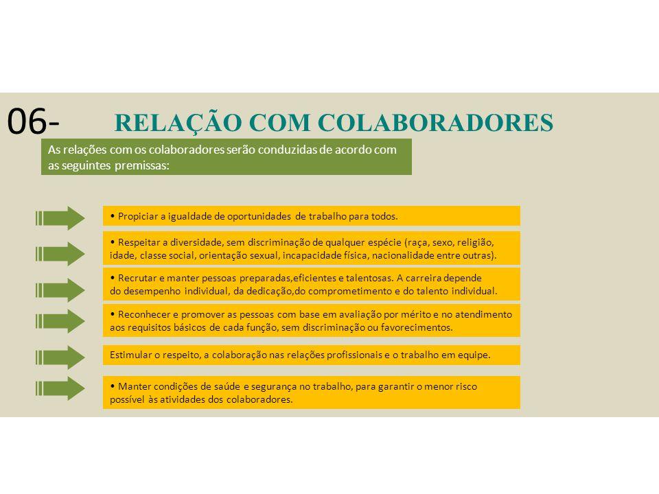 06- RELAÇÃO COM COLABORADORES Propiciar a igualdade de oportunidades de trabalho para todos.