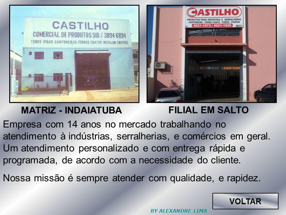 MATRIZ - INDAIATUBA FILIAL EM SALTO VOLTAR Empresa com 14 anos no mercado trabalhando no atendimento à indústrias, serralherias, e comércios em geral.