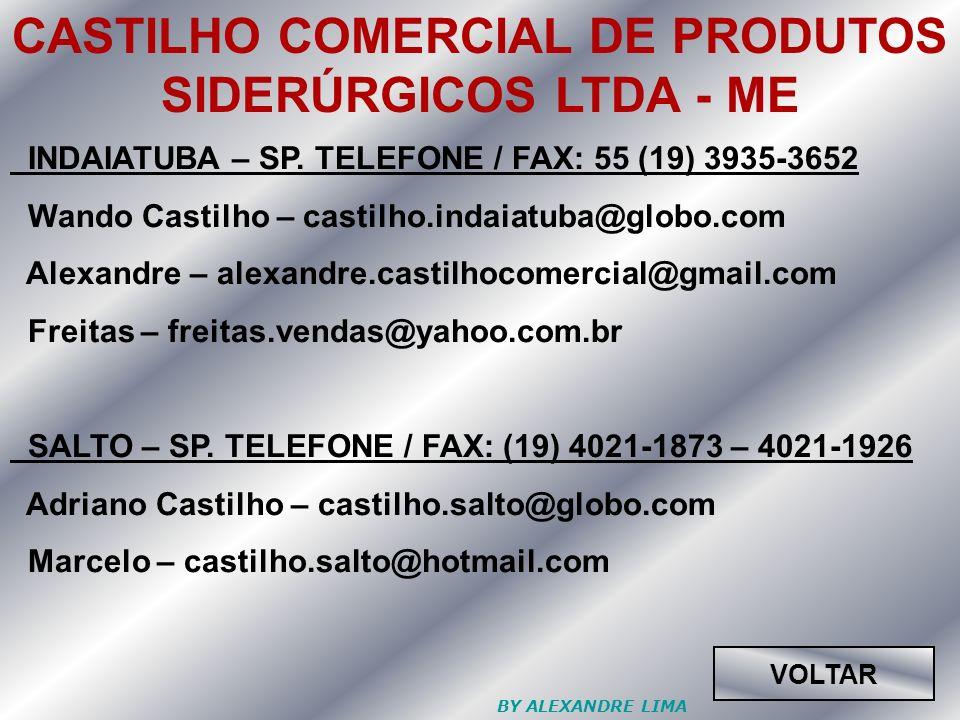 CASTILHO COMERCIAL DE PRODUTOS SIDERÚRGICOS LTDA - ME INDAIATUBA – SP.