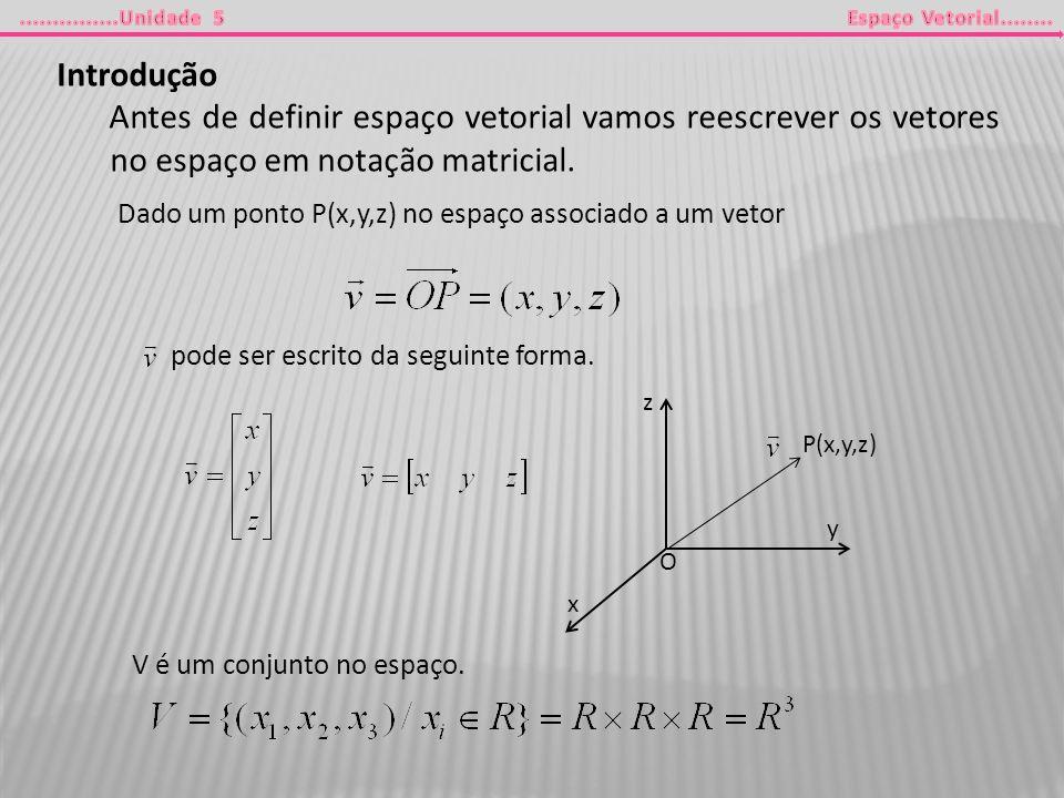 Introdução Antes de definir espaço vetorial vamos reescrever os vetores no espaço em notação matricial. Dado um ponto P(x,y,z) no espaço associado a u
