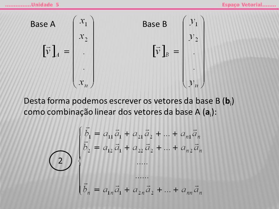 Base ABase B Desta forma podemos escrever os vetores da base B (b i ) como combinação linear dos vetores da base A (a i ): 2