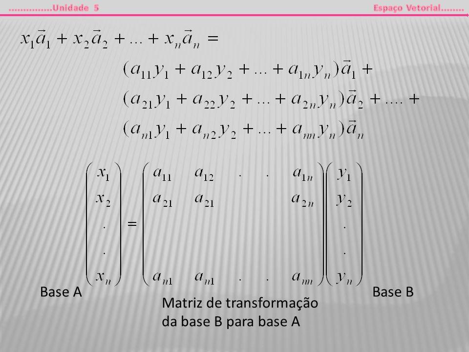 Base BBase A Matriz de transformação da base B para base A