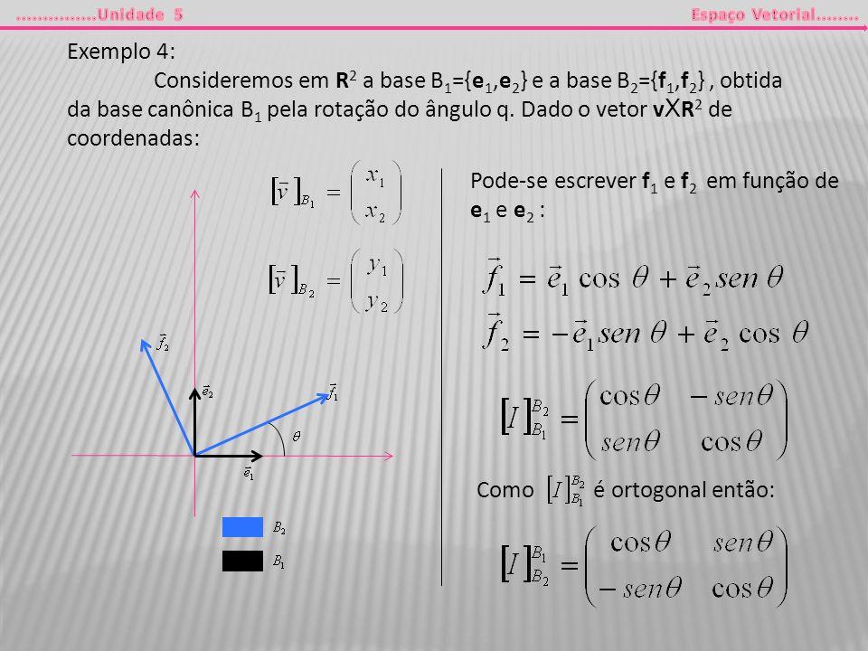 Exemplo 4: Consideremos em R 2 a base B 1 ={e 1,e 2 } e a base B 2 ={f 1,f 2 }, obtida da base canônica B 1 pela rotação do ângulo q. Dado o vetor v X