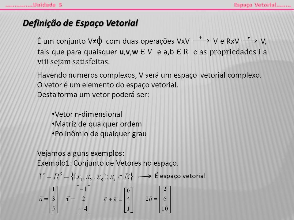 Definição de Espaço Vetorial É um conjunto V com duas operações VxV V e RxV V, tais que para quaisquer u,v,w Є V e a,b Є R e as propriedades i a viii