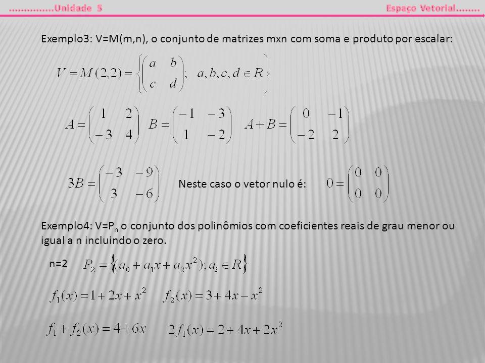 Exemplo3: V=M(m,n), o conjunto de matrizes mxn com soma e produto por escalar: Neste caso o vetor nulo é: Exemplo4: V=P n o conjunto dos polinômios co
