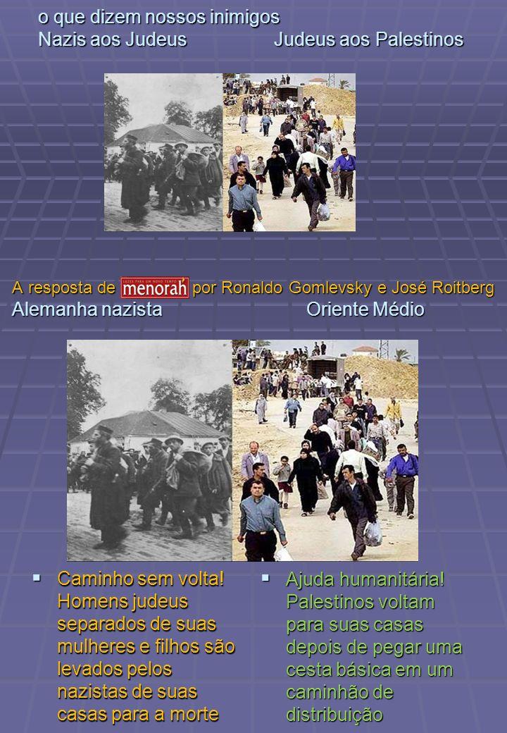 o que dizem nossos inimigos Nazis aos Judeus Judeus aos Palestinos Caminho sem volta! Homens judeus separados de suas mulheres e filhos são levados pe