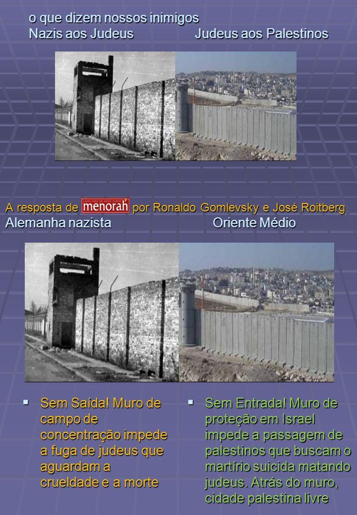 o que dizem nossos inimigos Nazis aos Judeus Judeus aos Palestinos Sem Saída! Muro de campo de concentração impede a fuga de judeus que aguardam a cru