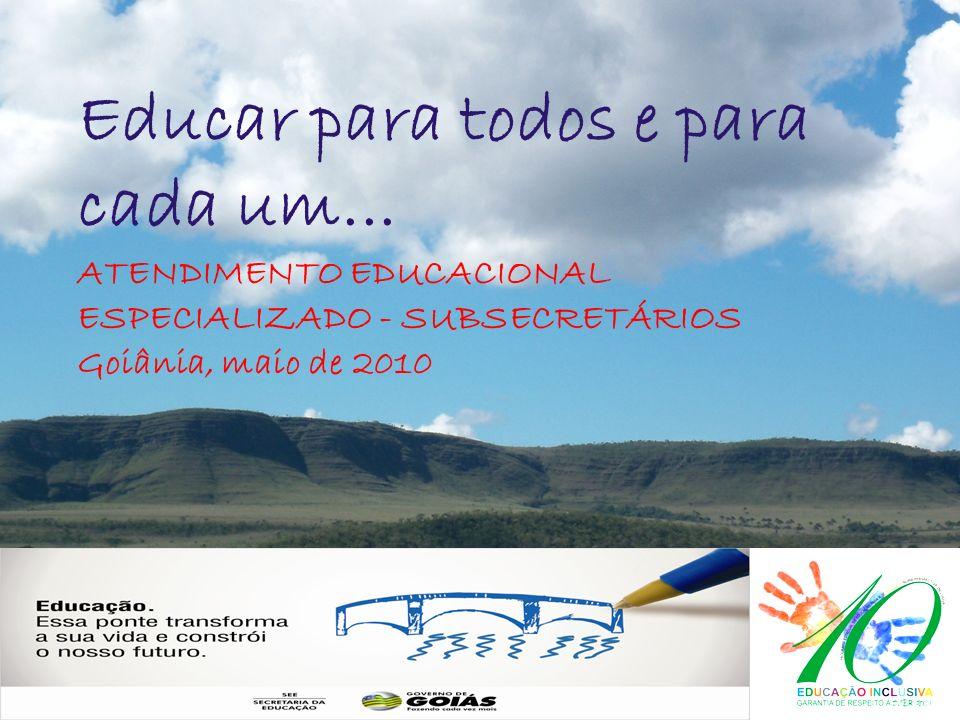 LOGO Educar para todos e para cada um... ATENDIMENTO EDUCACIONAL ESPECIALIZADO - SUBSECRETÁRIOS Goiânia, maio de 2010
