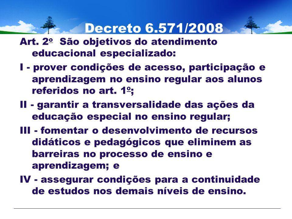 Decreto 6.571/2008 Art. 2 o São objetivos do atendimento educacional especializado: I - prover condições de acesso, participação e aprendizagem no ens