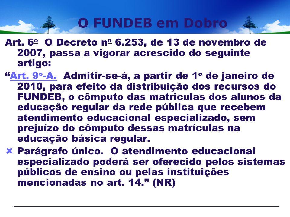 O FUNDEB em Dobro Art. 6 o O Decreto n o 6.253, de 13 de novembro de 2007, passa a vigorar acrescido do seguinte artigo: Art. 9 o -A. Admitir-se-á, a