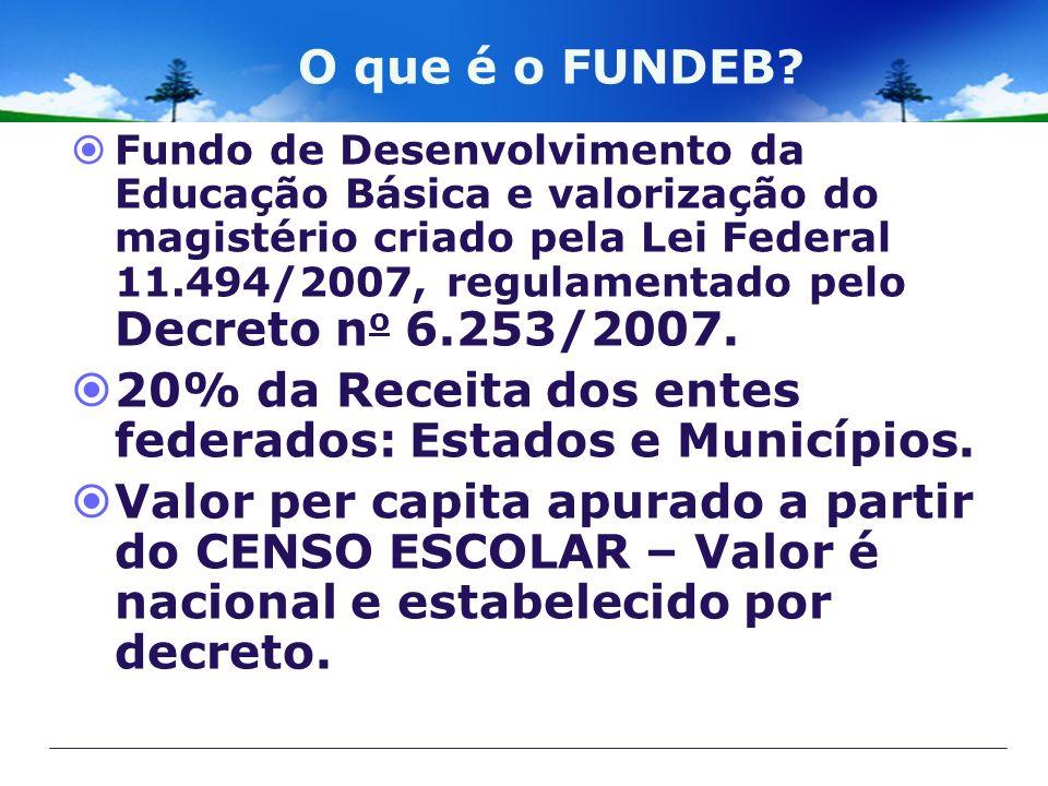O que é o FUNDEB? Fundo de Desenvolvimento da Educação Básica e valorização do magistério criado pela Lei Federal 11.494/2007, regulamentado pelo Decr