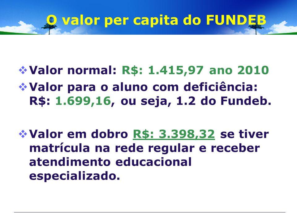 O valor per capita do FUNDEB Valor normal: R$: 1.415,97 ano 2010 Valor para o aluno com deficiência: R$: 1.699,16, ou seja, 1.2 do Fundeb. Valor em do