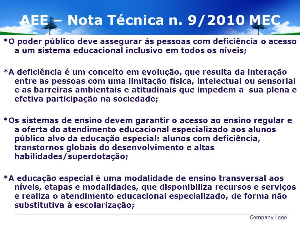 AEE – Nota Técnica n. 9/2010 MEC *O poder público deve assegurar às pessoas com deficiência o acesso a um sistema educacional inclusivo em todos os ní