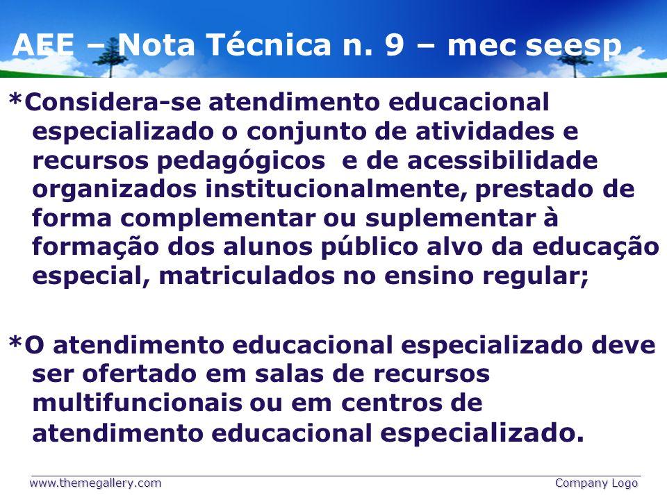 AEE – Nota Técnica n. 9 – mec seesp *Considera-se atendimento educacional especializado o conjunto de atividades e recursos pedagógicos e de acessibil