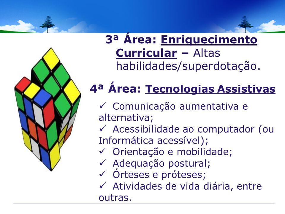 3ª Área: Enriquecimento Curricular – Altas habilidades/superdotação. 4ª Área: Tecnologias Assistivas Comunicação aumentativa e alternativa; Acessibili