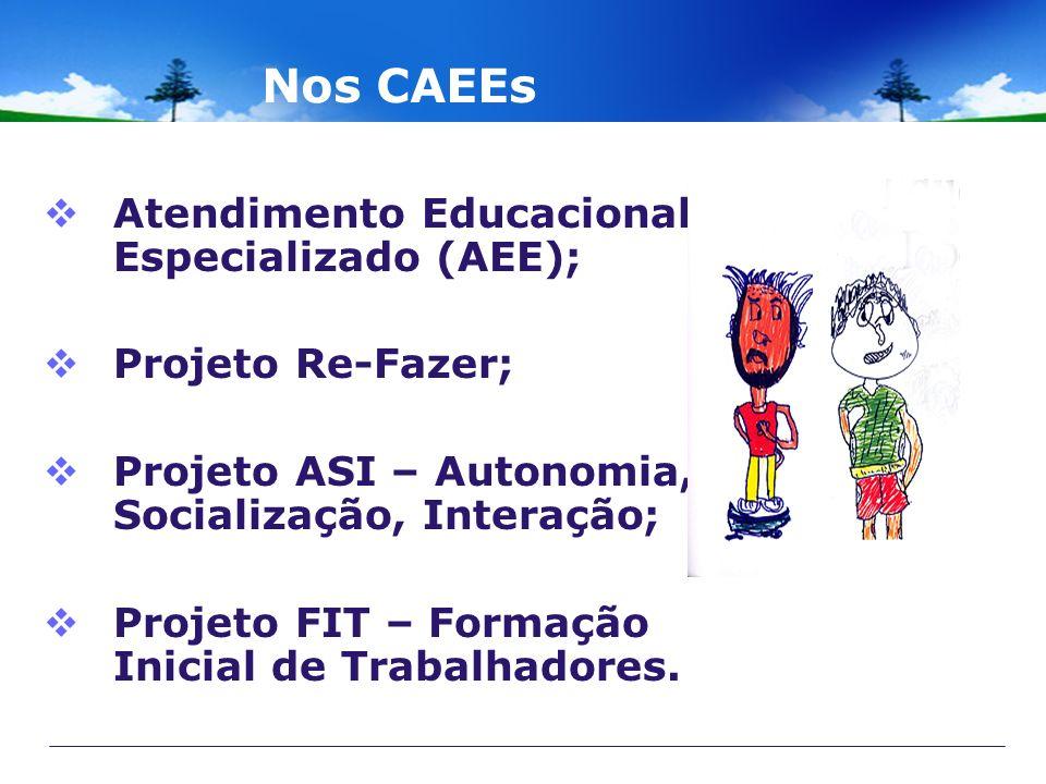 Nos CAEEs Atendimento Educacional Especializado (AEE); Projeto Re-Fazer; Projeto ASI – Autonomia, Socialização, Interação; Projeto FIT – Formação Inic
