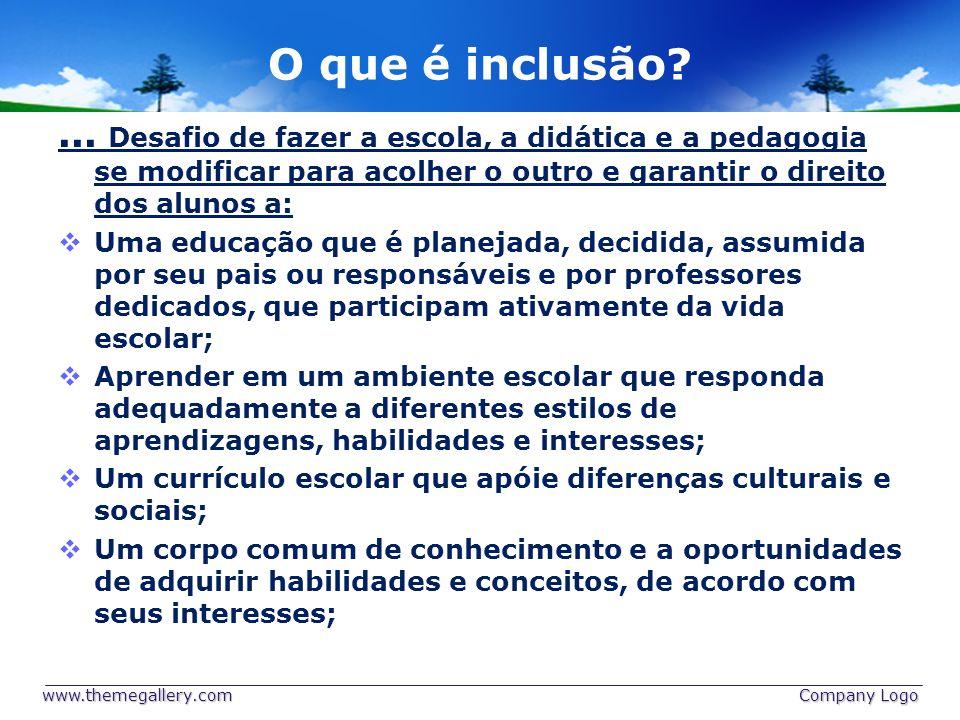 O que é inclusão?... Desafio de fazer a escola, a didática e a pedagogia se modificar para acolher o outro e garantir o direito dos alunos a: Uma educ