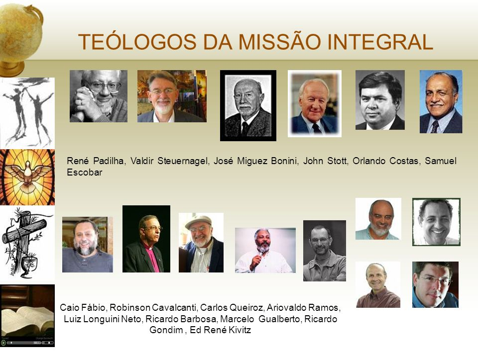 TEÓLOGOS DA MISSÃO INTEGRAL René Padilha, Valdir Steuernagel, José Miguez Bonini, John Stott, Orlando Costas, Samuel Escobar Caio Fábio, Robinson Cava