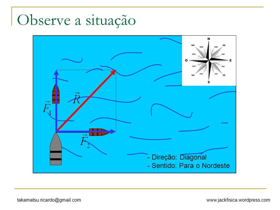 www.jackfisica.wordpress.comtakamatsu.ricardo@gmail.com Observe a situação - Direção: Diagonal - Sentido: Para o Nordeste