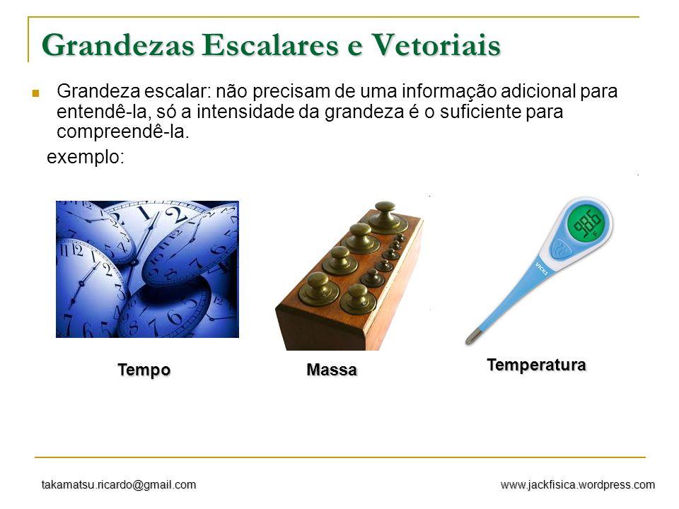 www.jackfisica.wordpress.comtakamatsu.ricardo@gmail.com Grandezas vetoriais: grandezas que necessitam de informações adicionais ( intensidade, direção e sentido) para melhor compreendê-la.
