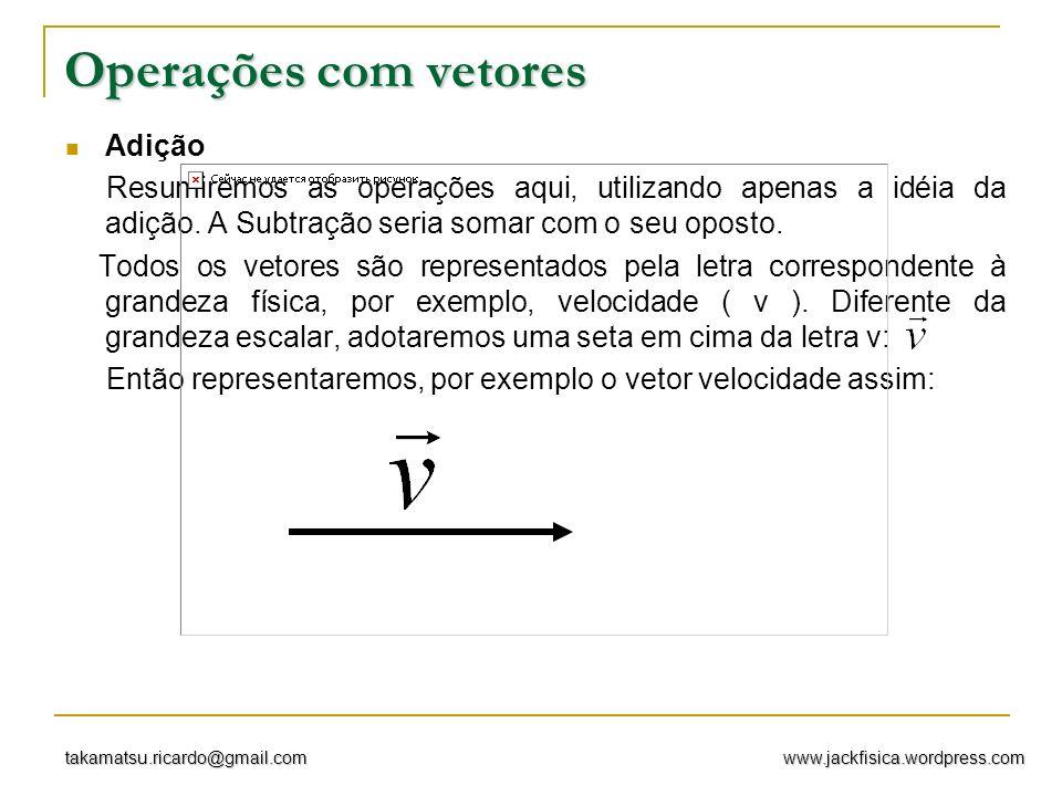 www.jackfisica.wordpress.comtakamatsu.ricardo@gmail.com Adição de vetores Sejam os vetores Vamos considerar que cada quadriculado como um valor unitário dos vetores em questão.