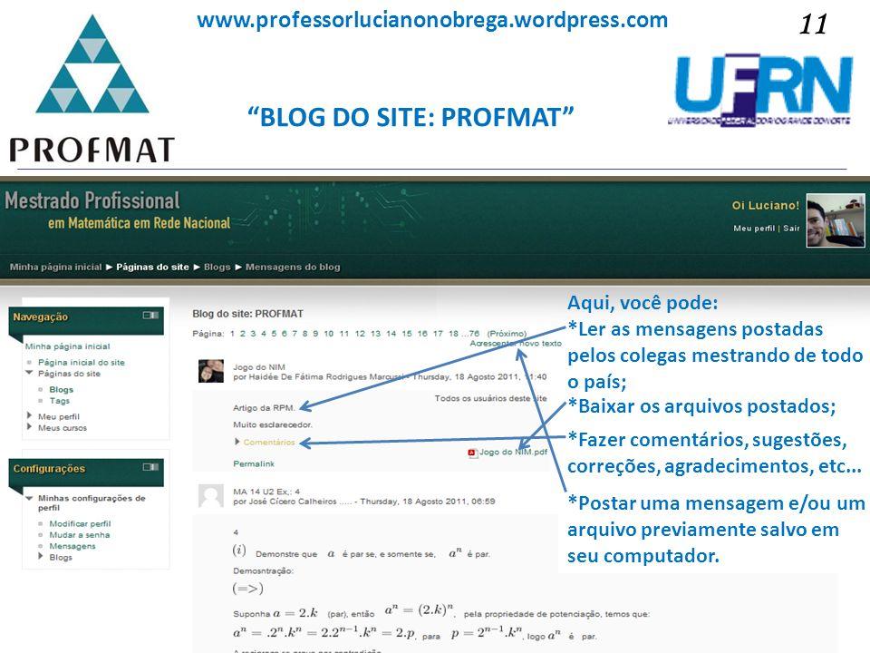 BLOG DO SITE: PROFMAT Sociedade Brasileira de Matemática www.professorlucianonobrega.wordpress.com Aqui, você pode: *Ler as mensagens postadas pelos c