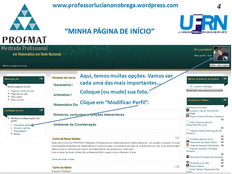 MINHA PÁGINA DE INÍCIO Sociedade Brasileira de Matemática www.professorlucianonobrega.wordpress.com Aqui, temos muitas opções. Vamos ver cada uma das