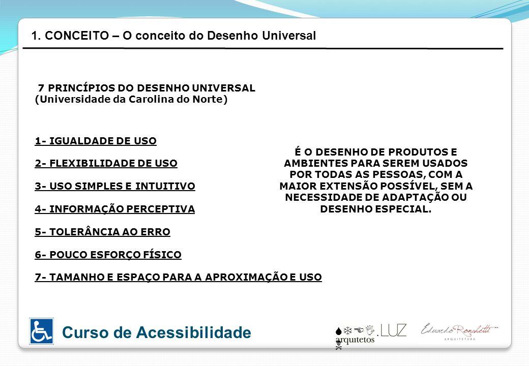 STEI N Curso de Acessibilidade 7 PRINCÍPIOS DO DESENHO UNIVERSAL (Universidade da Carolina do Norte) 1- IGUALDADE DE USO 2- FLEXIBILIDADE DE USO 3- US