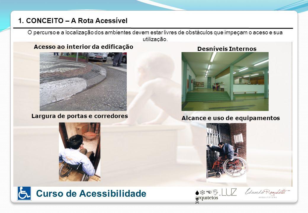 STEI N Curso de Acessibilidade O percurso e a localização dos ambientes devem estar livres de obstáculos que impeçam o aceso e sua utilização. 1. CONC
