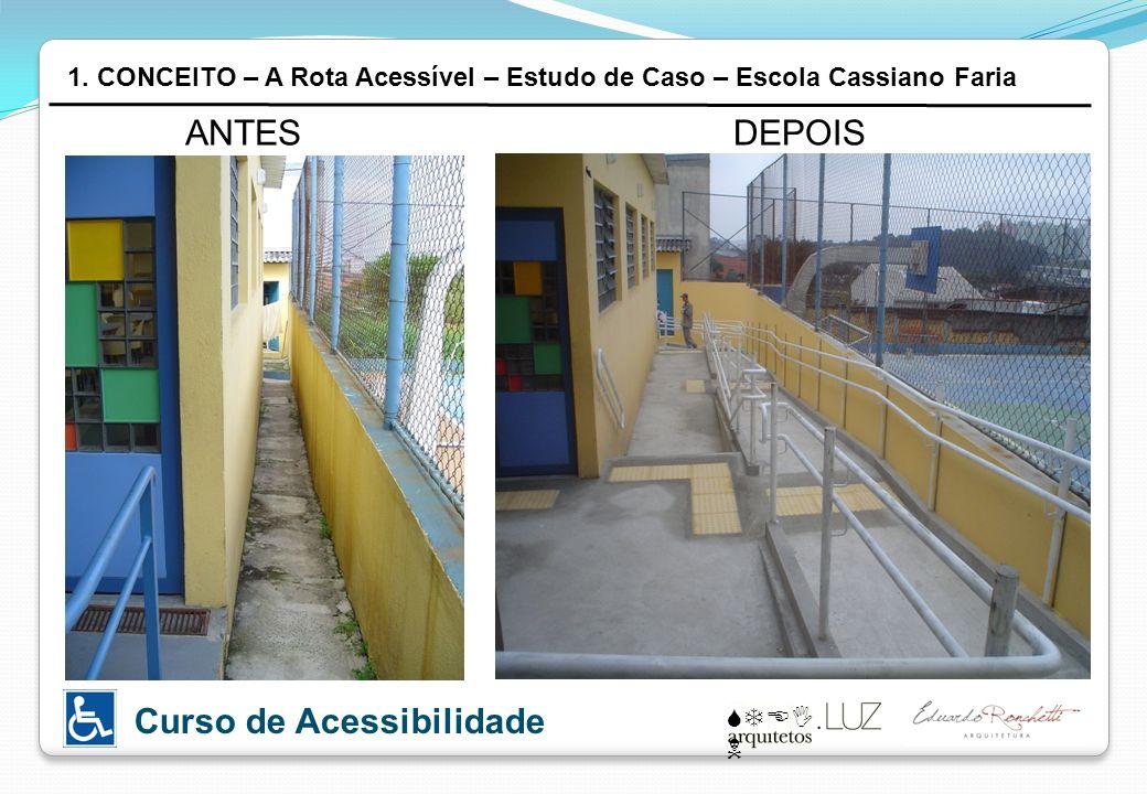 STEI N Curso de Acessibilidade ANTESDEPOIS 1. CONCEITO – A Rota Acessível – Estudo de Caso – Escola Cassiano Faria