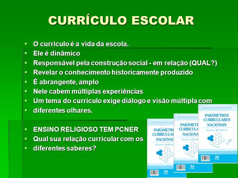 O currículo é a vida da escola. O currículo é a vida da escola. Ele é dinâmico Ele é dinâmico Responsável pela construção social - em relação (QUAL?)