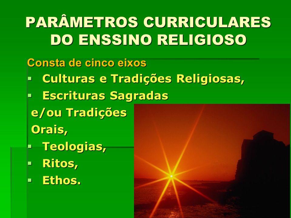 Consta de cinco eixos Culturas e Tradições Religiosas, Culturas e Tradições Religiosas, Escrituras Sagradas Escrituras Sagradas e/ou Tradições e/ou Tr