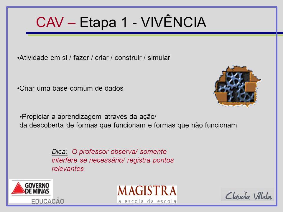 CAV – Etapa 1 - VIVÊNCIA Atividade em si / fazer / criar / construir / simular Propiciar a aprendizagem através da ação/ da descoberta de formas que f