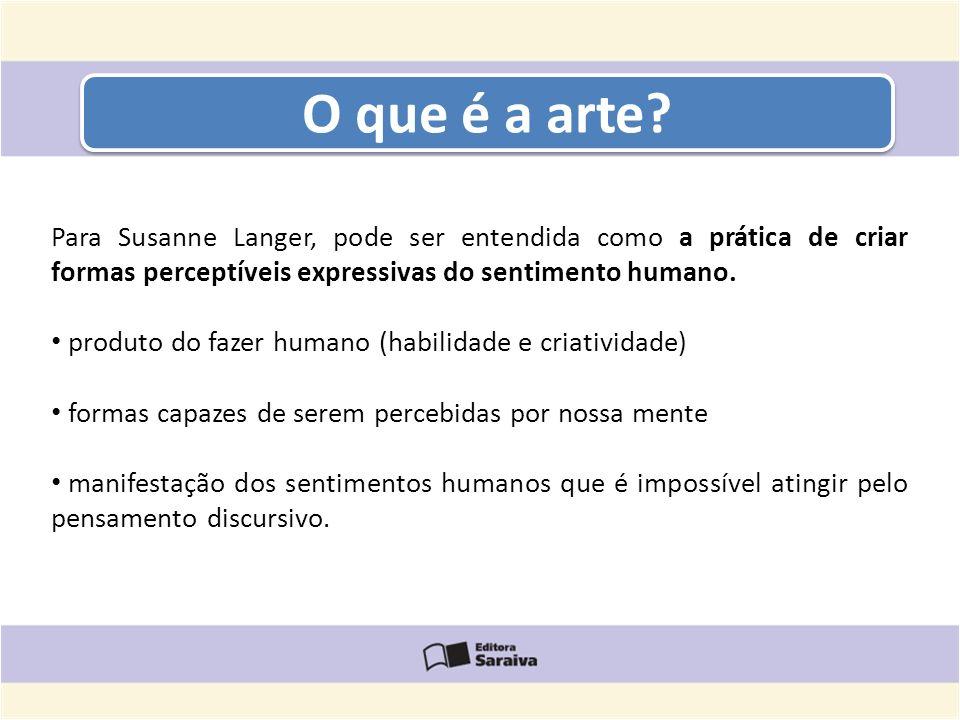 O que é a arte? Para Susanne Langer, pode ser entendida como a prática de criar formas perceptíveis expressivas do sentimento humano. produto do fazer