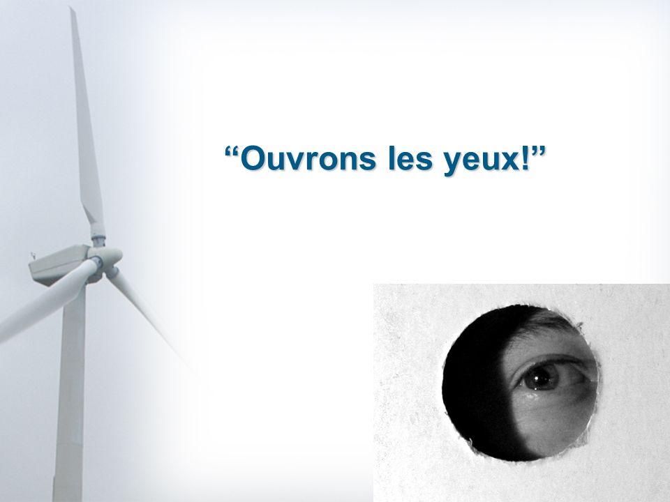 A França produz 508 TW/h, sendo que, as 2000 eólicas a funcionar em 2008 não forneceram mais do que 8TW/h, um bocado menos que 1%.Contudo a França exporta entre 10 a 15% da sua electricidade produzida.