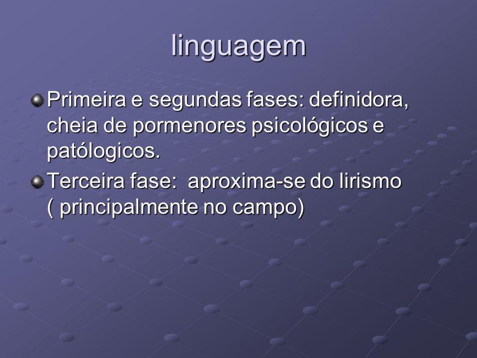 linguagem Primeira e segundas fases: definidora, cheia de pormenores psicológicos e patólogicos. Terceira fase: aproxima-se do lirismo ( principalment