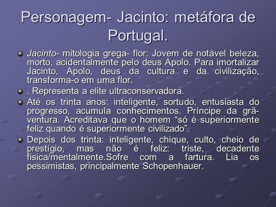 Personagem- Jacinto: metáfora de Portugal. Jacinto- mitologia grega- flor: Jovem de notável beleza, morto, acidentalmente pelo deus Apolo. Para imorta