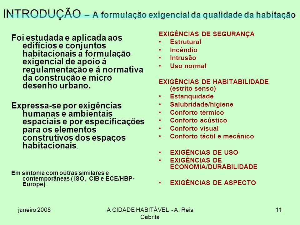 janeiro 2008A CIDADE HABITÁVEL - A. Reis Cabrita 11 INTRODUÇÃO – A formulação exigencial da qualidade da habitação Foi estudada e aplicada aos edifíci