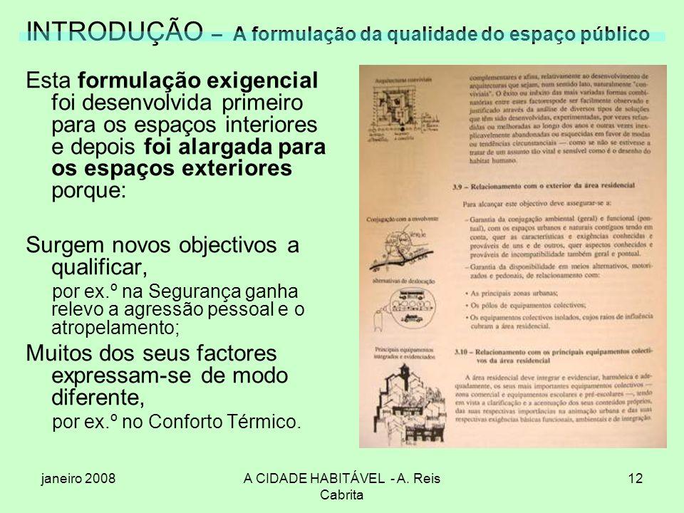 janeiro 2008A CIDADE HABITÁVEL - A. Reis Cabrita 12 INTRODUÇÃO – A formulação da qualidade do espaço público Esta formulação exigencial foi desenvolvi